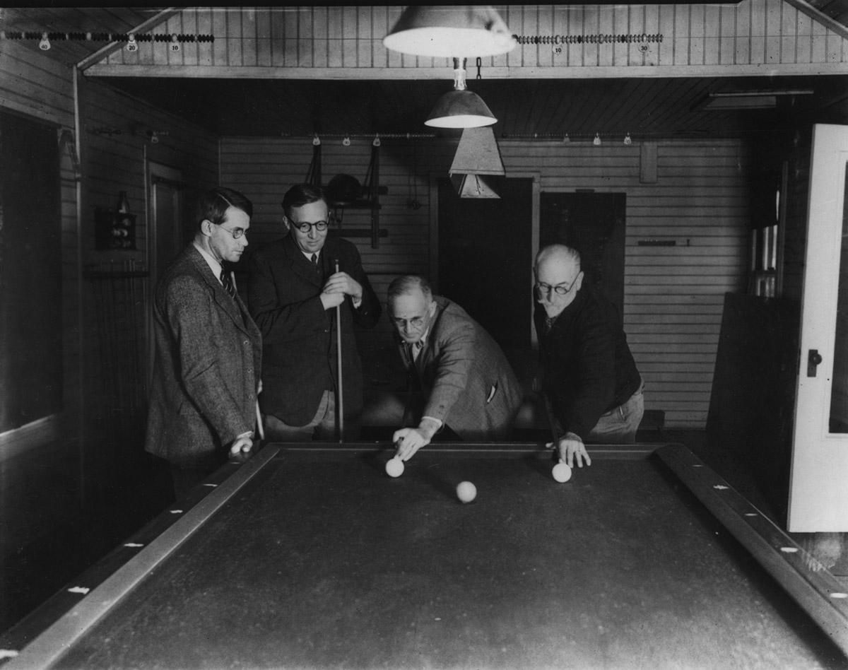 Astronomers playing pool at Mount Wilson Observatory