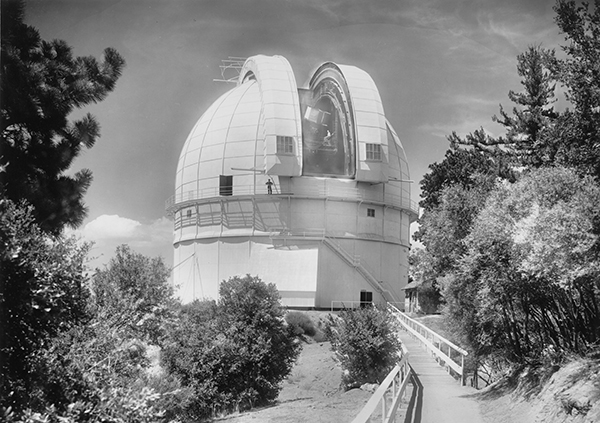 Black and white photo of dome of one hundred inch telescope, Mount Wilson Observatory.
