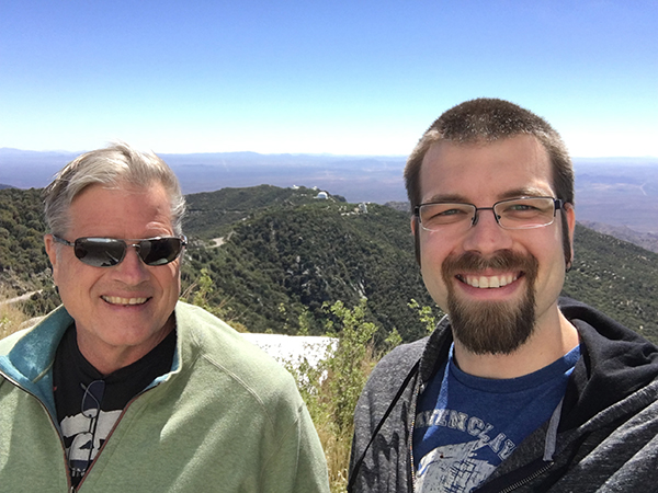 Photo of Carnegie Fellow Tom Holoien and his father Steve Holoien at Kitt Peak, Arizona