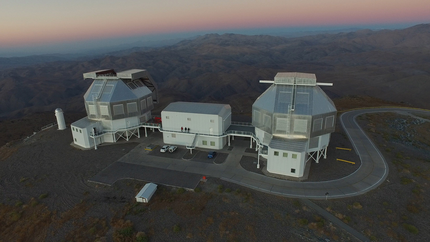 Magellan telescopes at sunset from the air