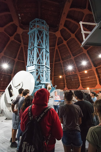 Upward Bound students and Carnegie undergrad researchers at Mount Wilson Observatory. Photo by Gwen Rudie