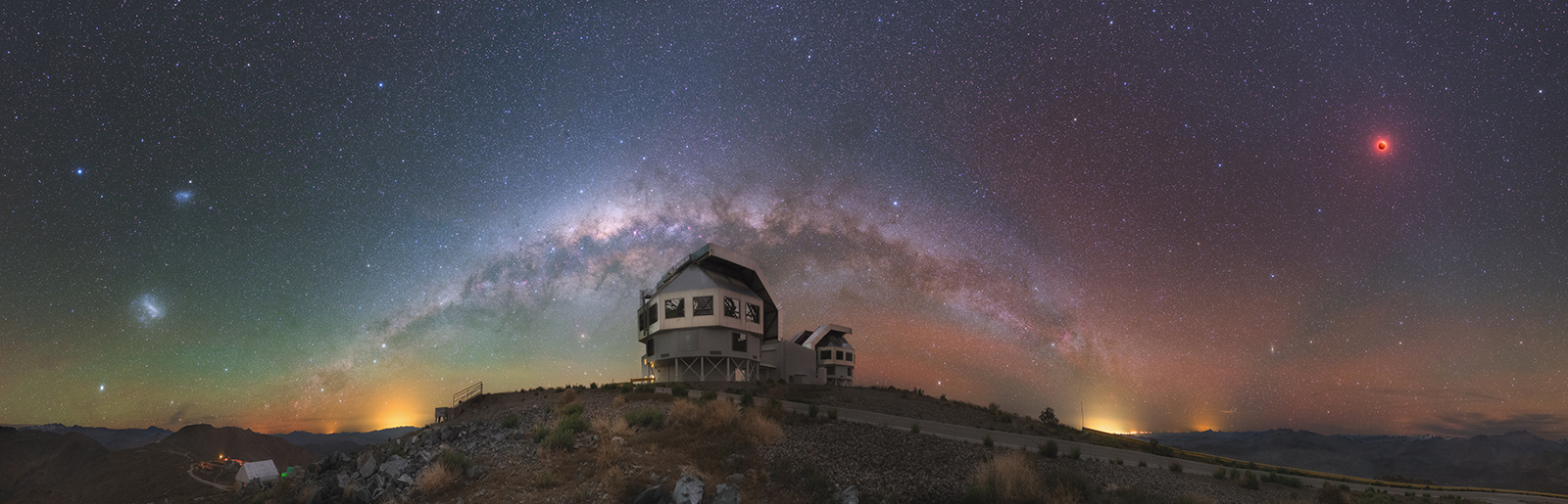 Nightscape panorama of the Magellan telescopes and the Milky Way by Yuri Beletsky