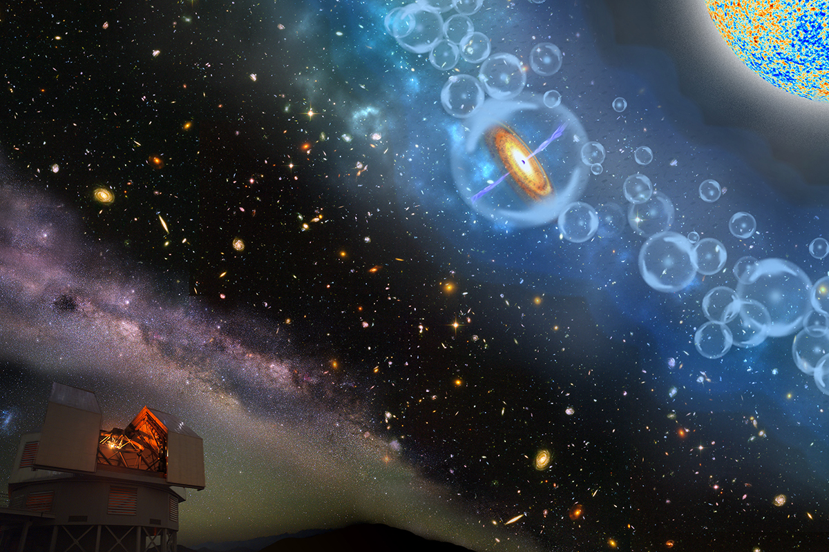 Artistic depiction of the history of the universe from the Magellan telescopes to the earliest quasars