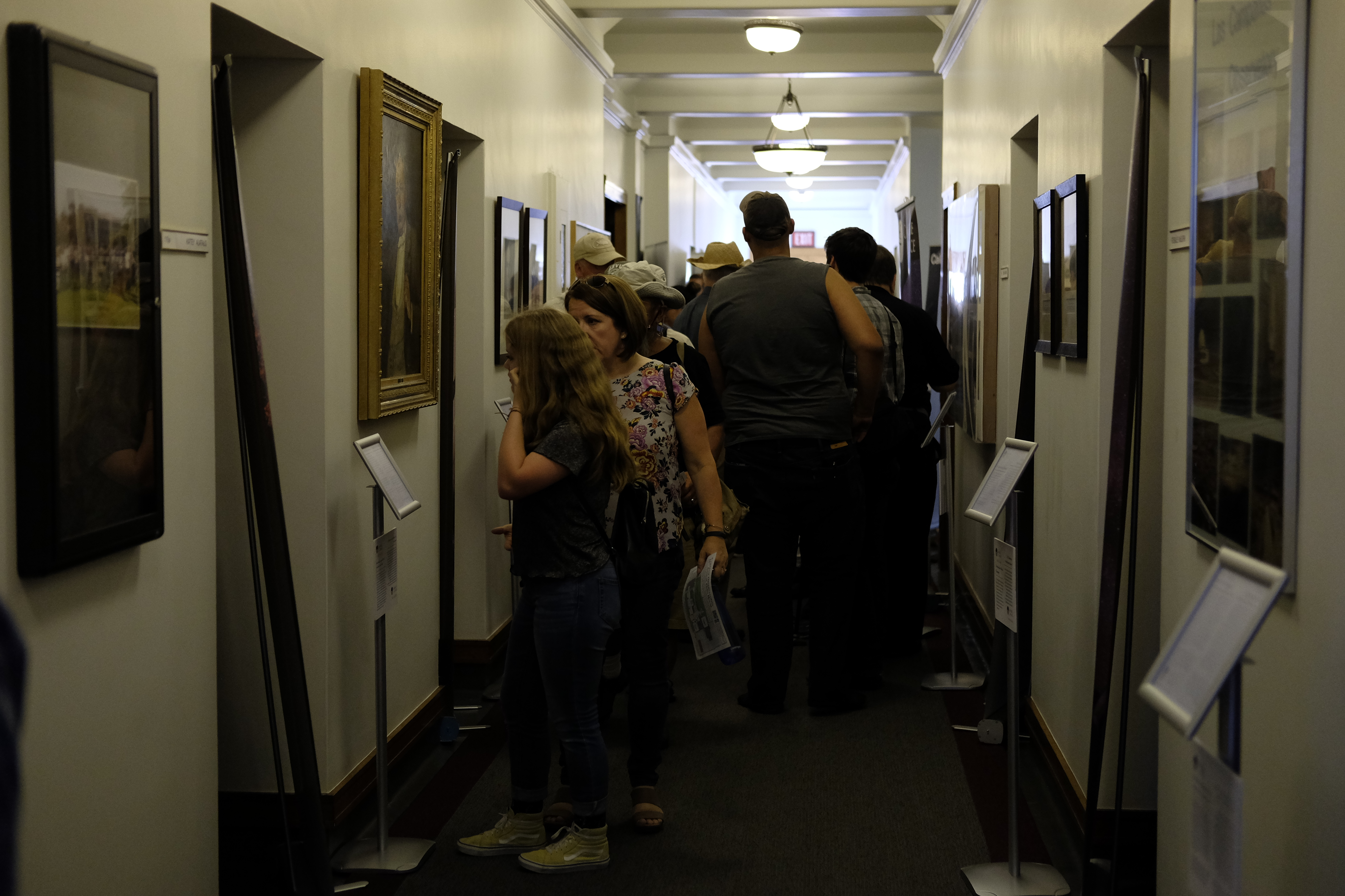 Guests view informative displays about Carnegie Astronomy telescopes past present and future