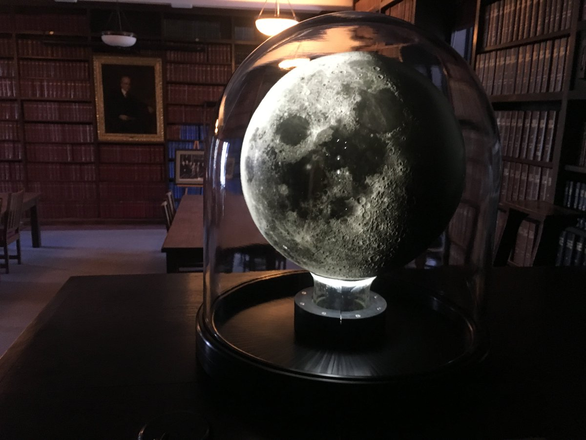 The Moon Globe spherical plate illuminated in the Hale Library