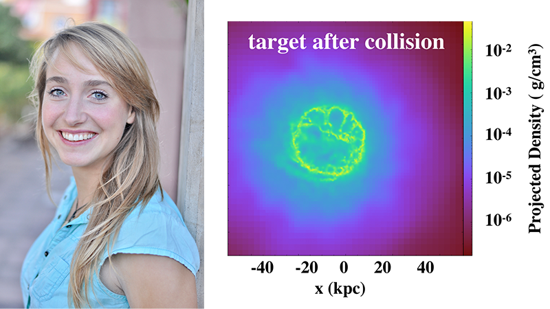 Photo of postdoc Marja Seidel and a graphic of a ring galaxy